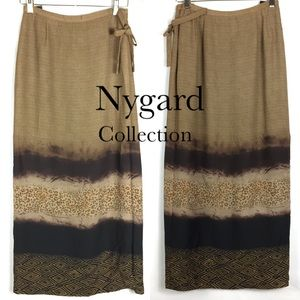 Nygard wrap cheetah midi tea skirt
